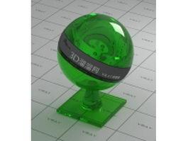 Green glass beer bottle vray material
