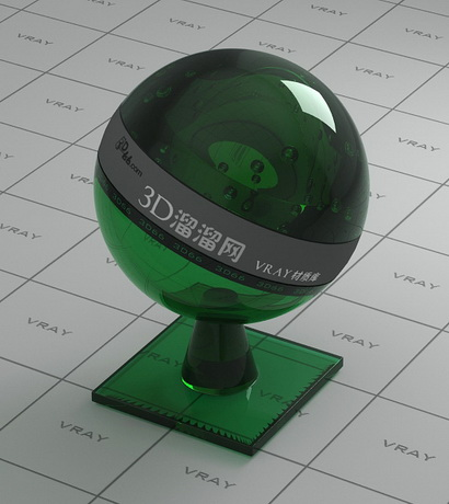 Dark green polished glass material rendering