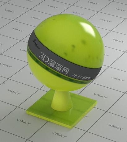 Green yellow transparent plastic material rendering