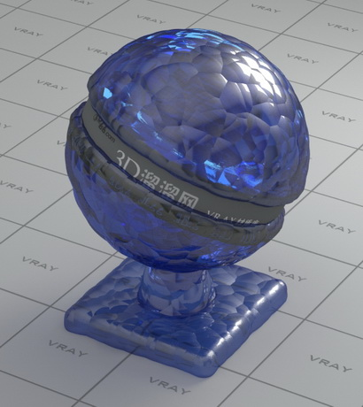 Blue art decorated glass vray material for Mirror vray material
