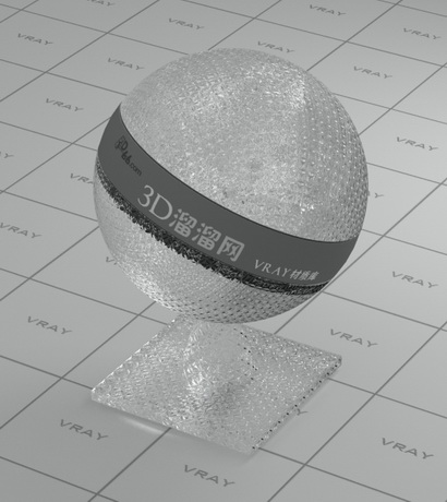 Rolled translucent glass material rendering