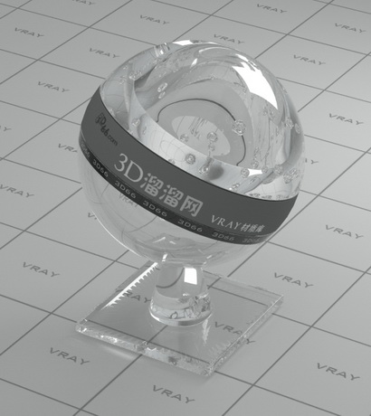 Clear optical glass material rendering