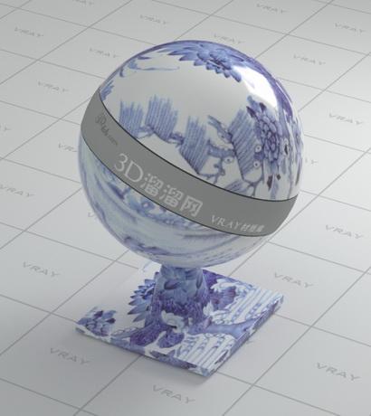 Overglaze decor ceramic material rendering