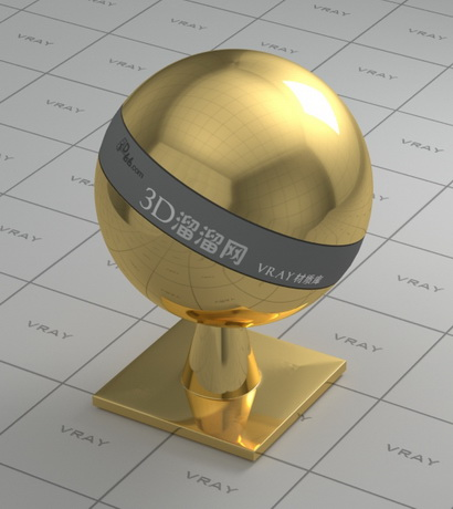 Mirror polished gold material rendering