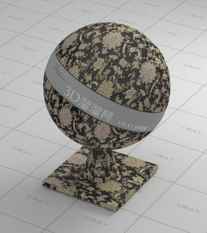 Black cotton fabric - European flower patterns material rendering