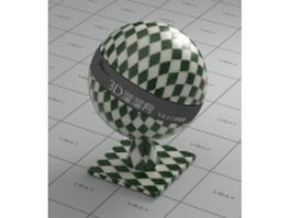 Glass mosaic tile - green and white check vray material