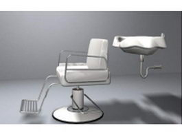 Higher-end barber chair and shampoo basin 3d model