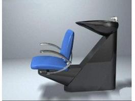Reclining shampoo chair 3d model