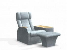 Beauty salon massage chair and ottoman 3d model
