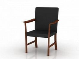 Traditional wood arm chair 3d model