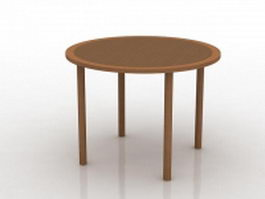 Round wood coffee table 3d model