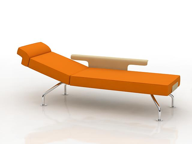 Modern chaise longue day bed 3d model 3dsmax files free for Chaise longue bed