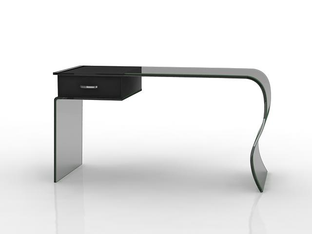 Delightful Black Glass Office Desk 3d Model