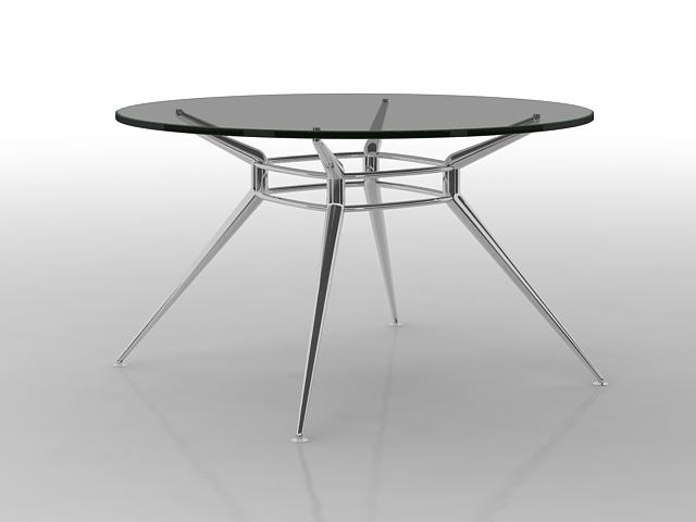 Black Glass Round Dining Table 3d Model 3dsmax Files Free