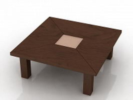 Wood square table 3d model
