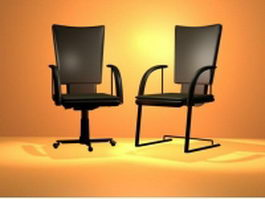 Black cantilever chair and swivel chair 3d model
