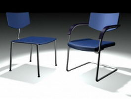 Blue side chair and cantilever chair 3d model