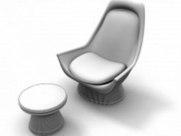 Scoop chair and round ottoman stool 3d model