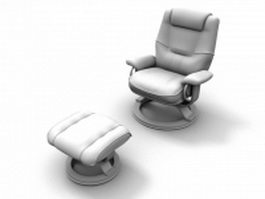 Upholstered reclining chair and ottoman 3d model