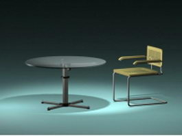 Cantilever chair and glass table 3d model