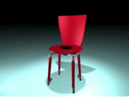 Red round side chair 3d model