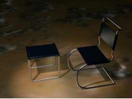 Chrome steel cantilever chair and ottoman 3d model