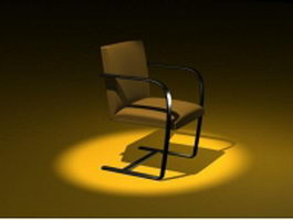 Yellow cantilever chair 3d model