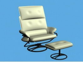 White leather lounge chair and ottoman 3d model