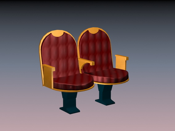 Two seater theater chair 3d model 3dsMax files free download