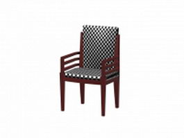 Black and white checker arm side chair 3d model