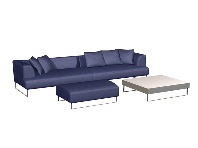 Highly Detailed 3D Model Of Cloth Sofa Set And Side Table, Available In  3dsMax, Including Metal Base Sofa Settee, Ottoman Stool And Side Table, ...