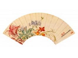 Oriental paper folding fan texture