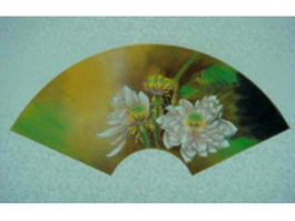 East Asia paper folding fan with lotus pattern texture