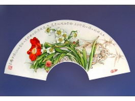 Silk folding fan - flower embroidery pattern texture