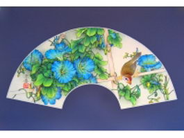Paper folding fan - morning glory and bird pattern texture