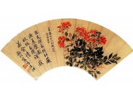 Paper folding fan - poem and red rosaceae pattern texture