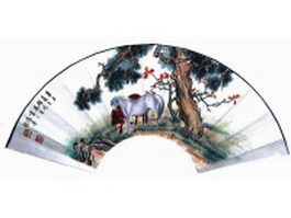 Paper folding fan - two horses under pine tree pattern texture