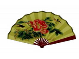 Silk folding fan - flower embroidery patt texture