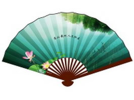 Paper folding fan - lotus flowers in the pond texture