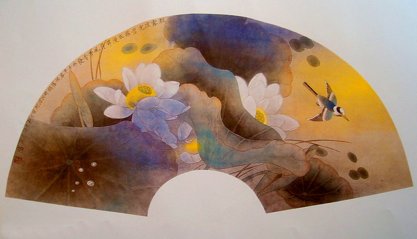 Paper Folding Fan Chinese Ink Painting Lotus Texture