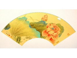 Paper folding fan - Chinese painting lotus pattern texture