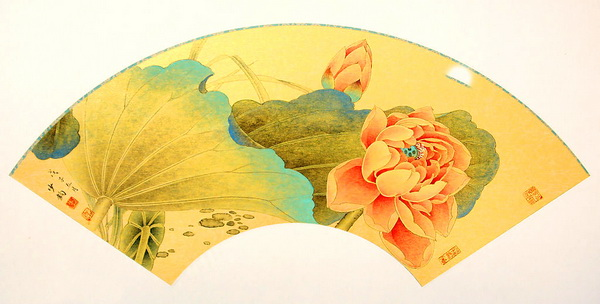 Paper folding fan - Chinese painting lotus pattern texture - Image