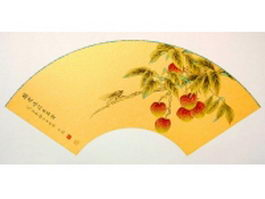 Paper folding fan - Chinese painting branches of litchi patte texture