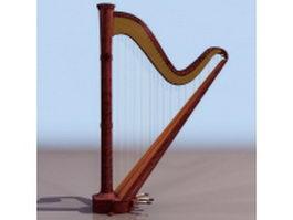 Single-action pedal harp 3d model