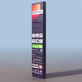 Gas station informational sign 3d model