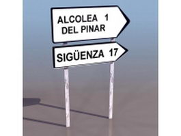 Road directional sign 3d model