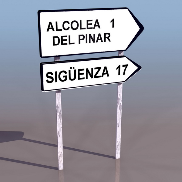 Road Directional Sign 3d Model 3ds Files Free Download