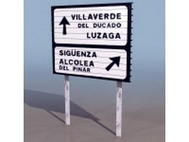 Freeway diversion route sign 3d model