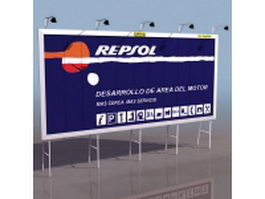Highway fence billboard 3d model