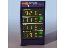 Gasoline price panel 3d model